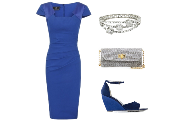 University Graduation Outfit Ideas: blue, silver, Hybrid Fashion, Dress, Clutch, Wedges