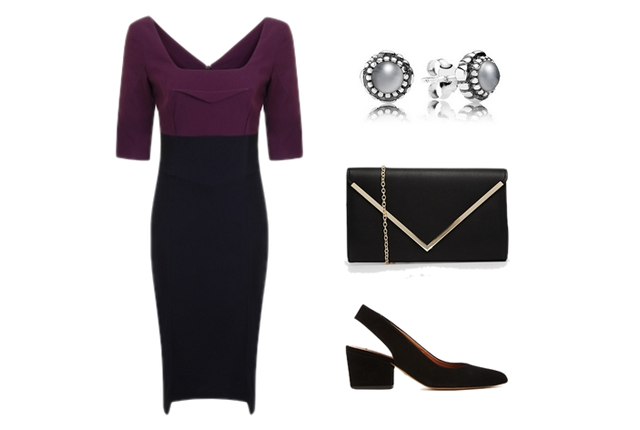 University Graduation Outfit Ideas: purple, silver, black, Hybrid Fashion, Dress, Clutch, Wedges, Aldo, Pandora, Whistles