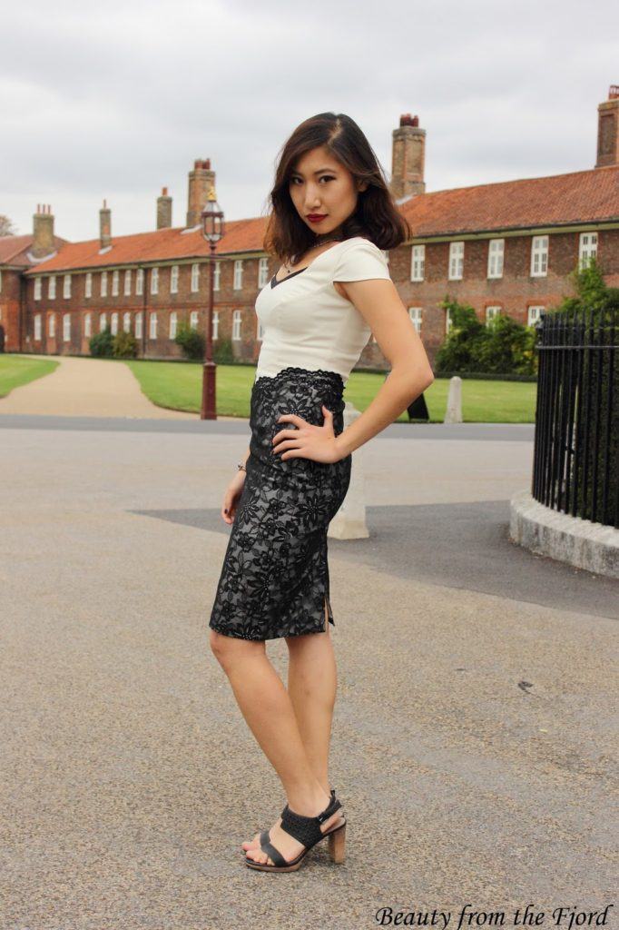 All Laced Up - Hybrid Fashion Marquee Cap Sleeve Dress with Lace Skirt Cream with Black