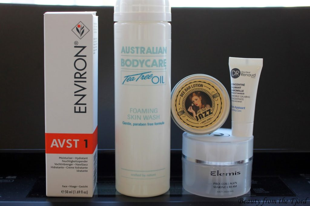 Australian Body Care Tea Tree Oil Foaming Skin Wash, All that Jazz Bee Bar Lotion and Dr. Renaud Camomile Calming Concentrate, Environ, Elemis Pro-Collage Marine Cream
