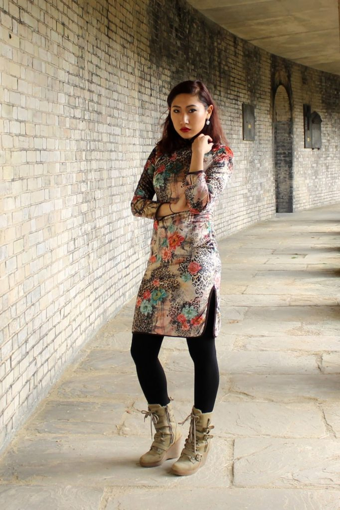 Outfit: An Oriental Christmas featuring Chinese Blossom Cheongsam Dress from Kaii Zhang