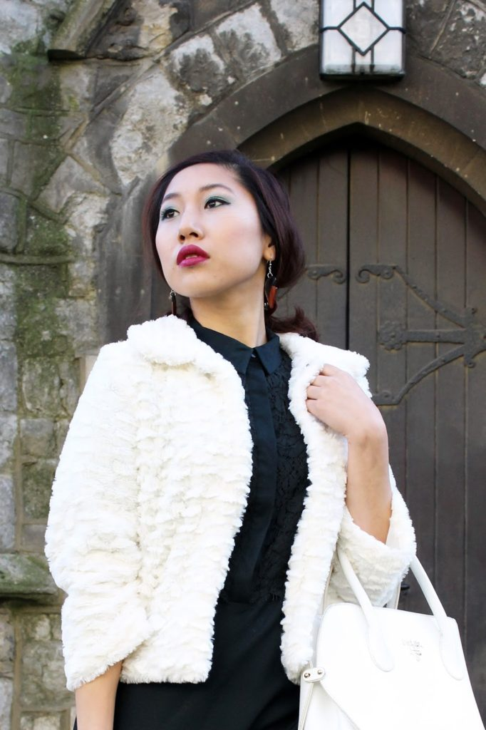 Outfit: Let it Snow! Lipstick: Makeup Revolution Salvation Lip Lacquer in Rebel Jacket: Mela Cream Faux Fur Collared Jacket Dress: Lace Shirt Dress c/o Warehouse Boots: Grace Boots from Vagabond  Bag: White Prada bag dupe