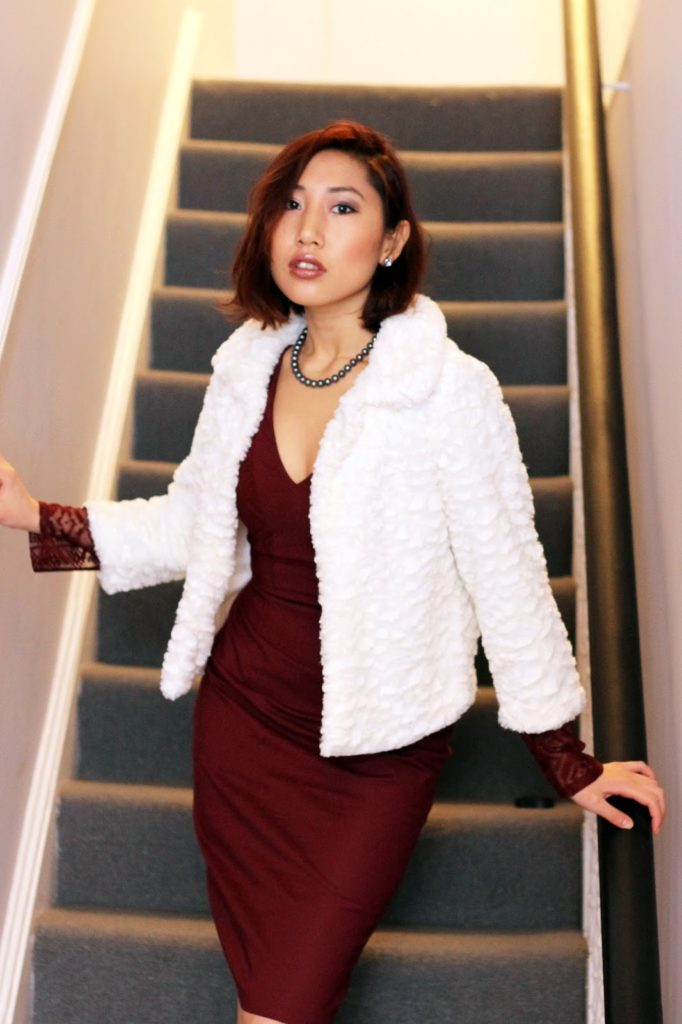 Outfit: Lace and Oxblood: Dress: Kennedy Lace Sleeve V-Neck Dress Oxblood c/o Hybrid Jacket: Mela Cream Faux Fur Collared Jacket Shoes: Black Heels from New Look (old)