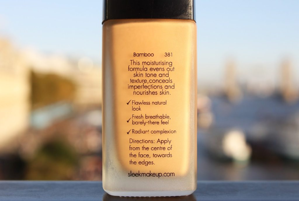 Sleek Bare Skin Foundation Review and Swatches - Bamboo