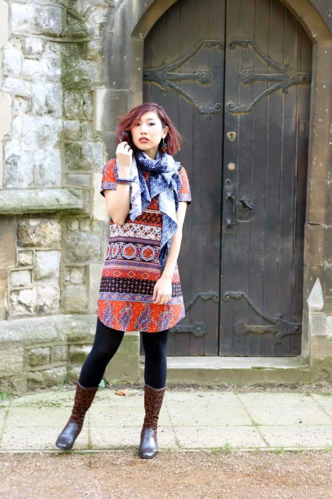 Outfit: Boohoo Dress for Autumn - 70s Print