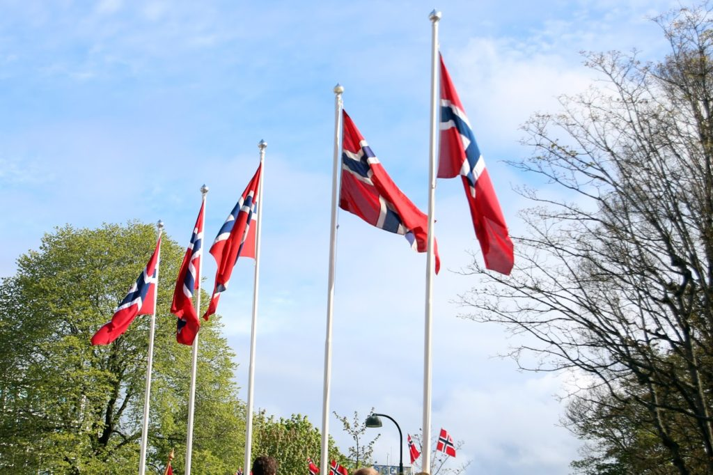 Celebrating 17 mai in Norway - Norwegian flags