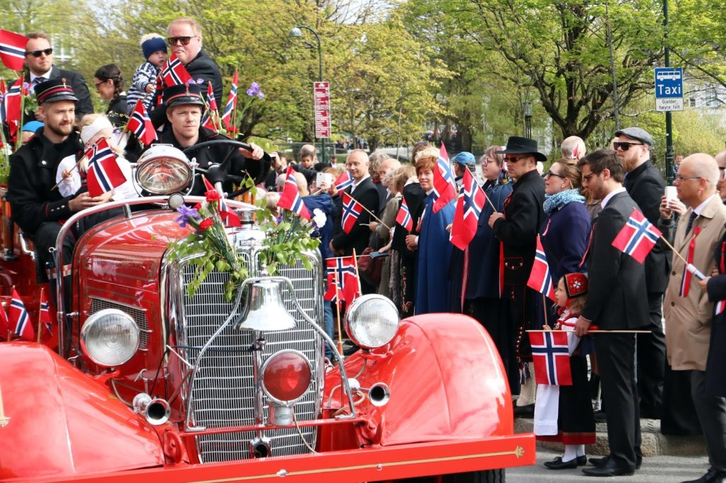 Celebrating 17 mai in Norway - red car in Stavanger