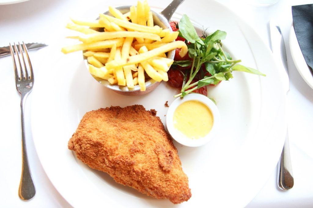 1970's Classic Chicken Kiev at Marco Pierre White Steakhouse Double Tree by Hilton Cambridge