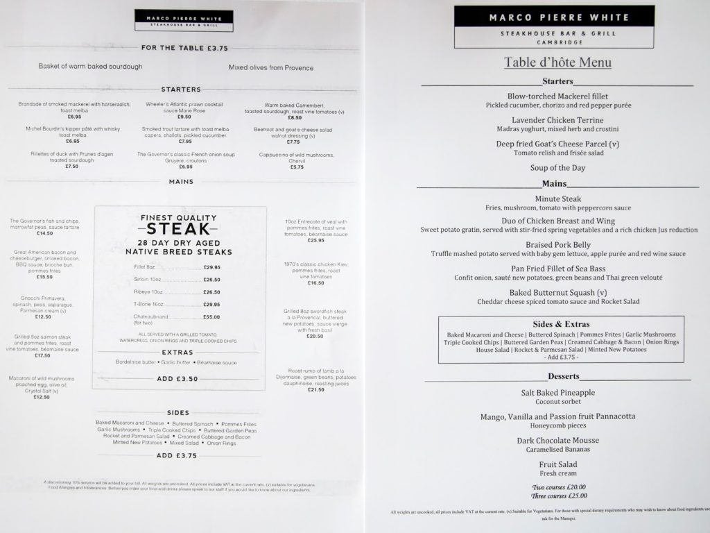 A la carte and set menu at Marco Pierre White Steakhouse Double Tree by Hilton Cambridge