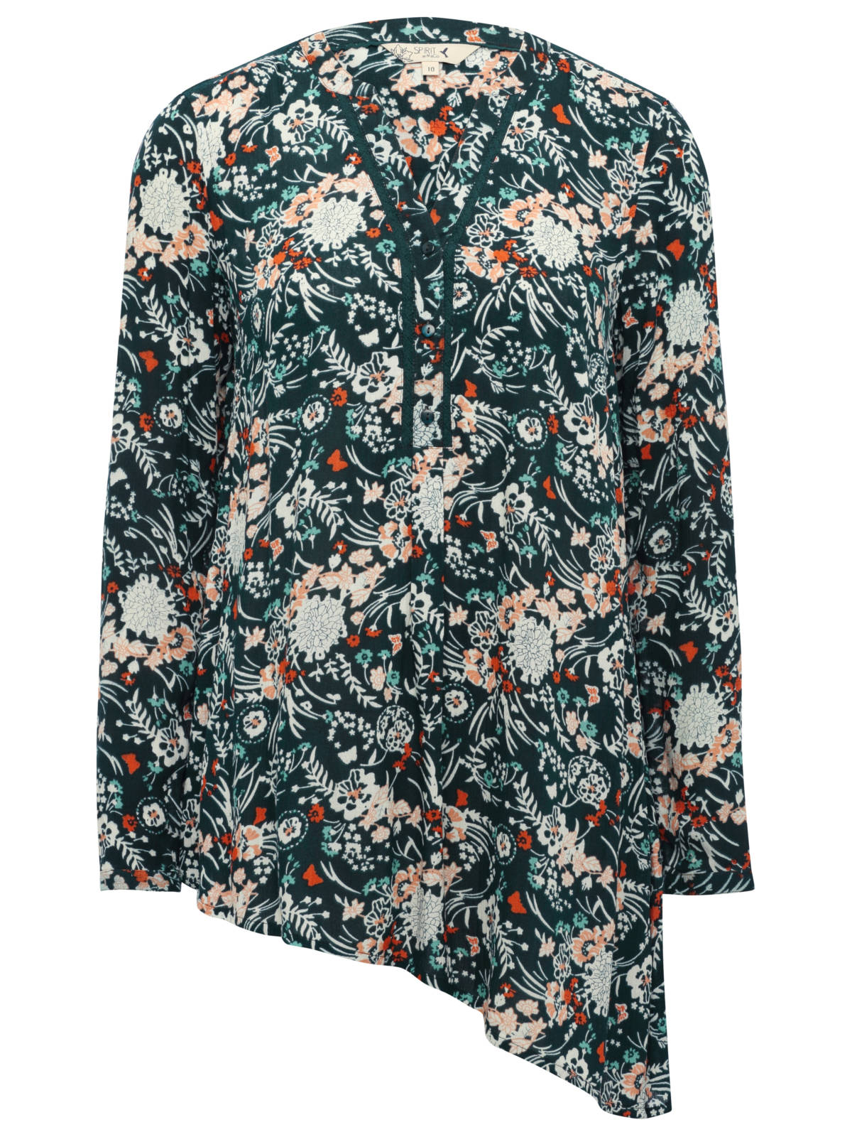 SHIRT LS - ASSYMETRIC VISCOSE CRINKLE - FOREST £26