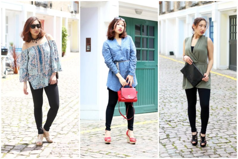 Three Outfits with Black Skinny Jeans