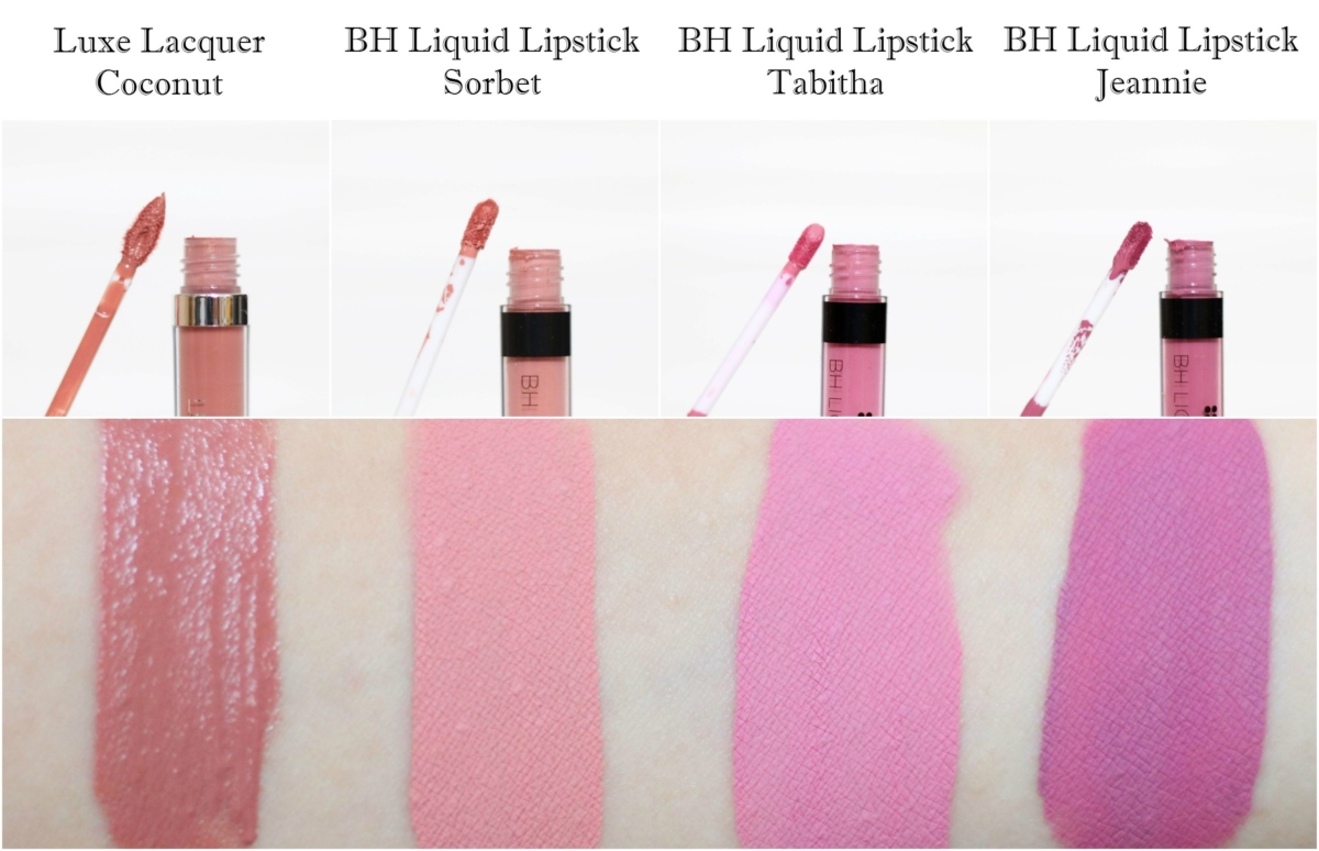 BH Cosmetics Luxe Lacquer in Coconut and BH Liquid Lipsticks in Sorbet, Tabitha and Jeannie Review and Swatches