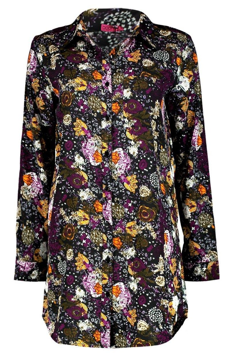 Boohoo Elizee Floral Shirt Dress