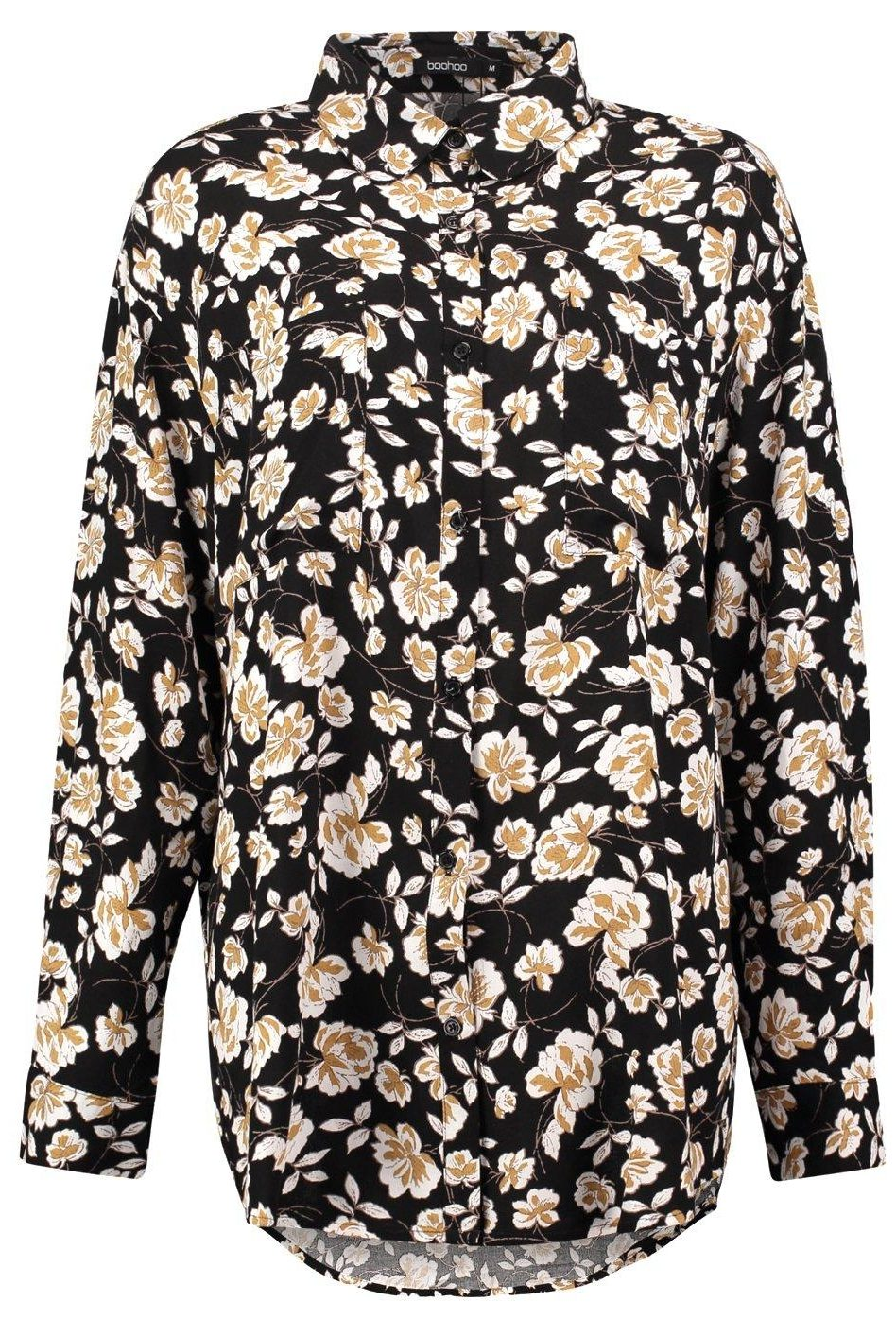Boohoo Lucy Dark Floral Oversized Shirt