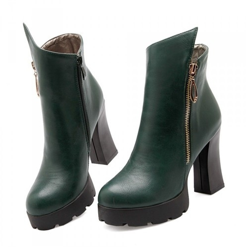 Chunky Green High Heel Boots