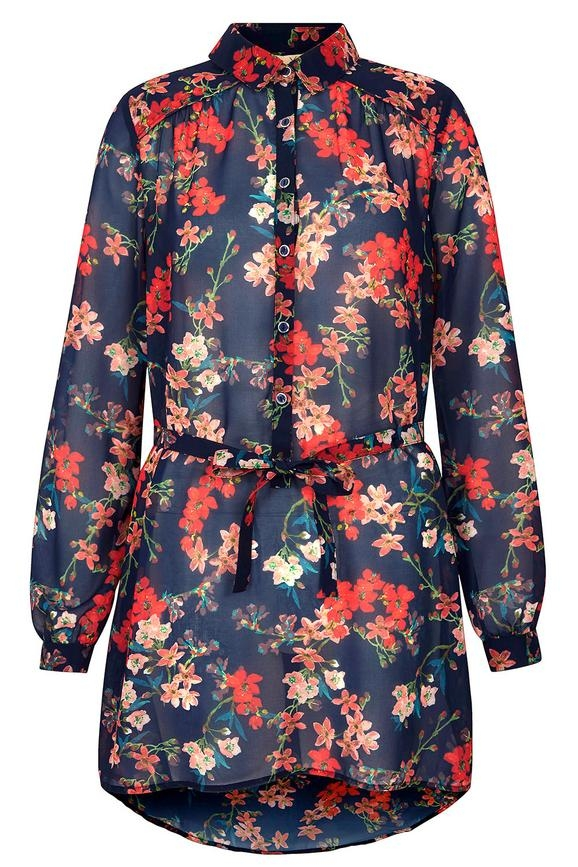 Yumi Blossom Print Belted Shirt