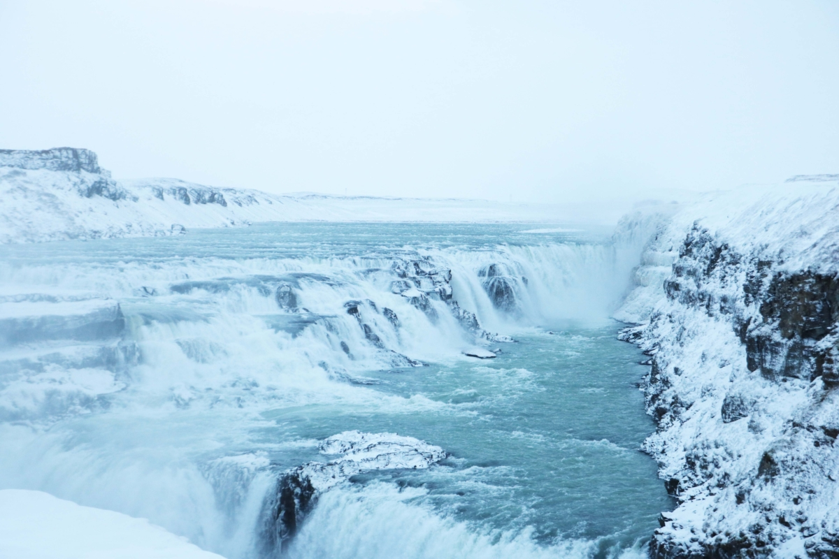 Gullfoss: This is my favourite photo from the Grand Golden Circle Tour. Gullfoss look so majestic in the snow!