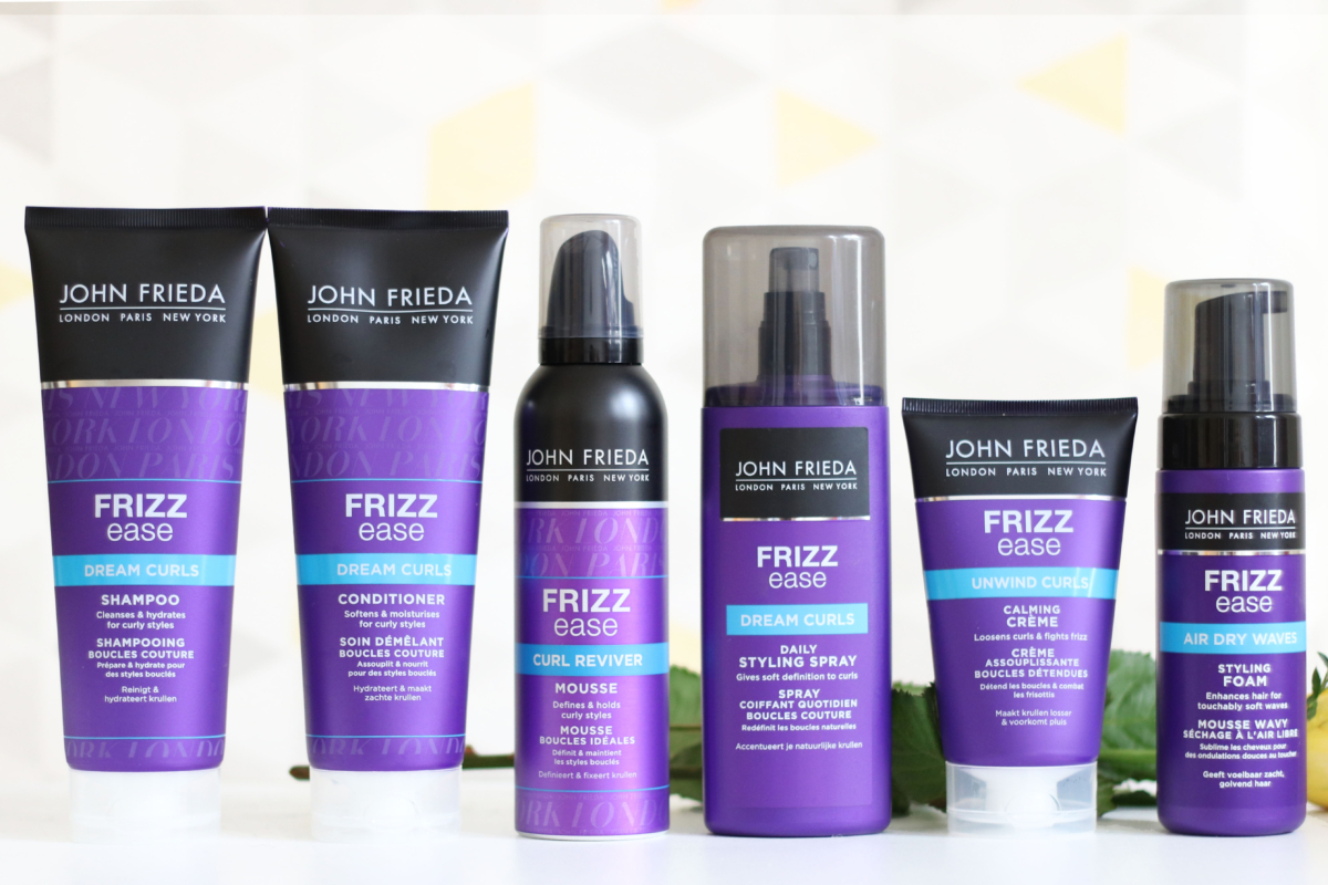 John Frieda Frizz Ease Dream Curls collection consisting of 6 products (from left to right); Dream Curls Shampoo, Dream Curls Conditioner, Curl Reviver Mousse, Dream Curls Daily Styling Spray, Unwind Curls Calming Creme and Air Dry Waves Styling Foam.